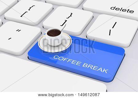 Blue Coffee Break Key on White PC Keyboard extreme closeup. 3d Rendering