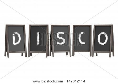 Wooden Menu Blackboard Outdoor Displays with Disco Sign on a white background. 3d Rendering