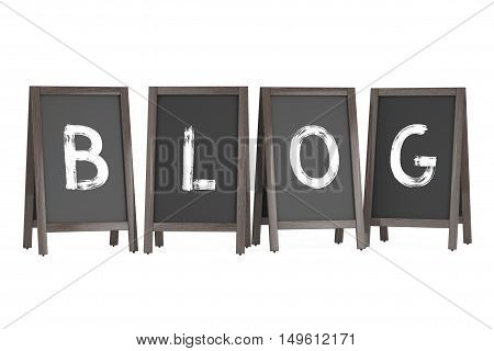 Wooden Menu Blackboard Outdoor Displays with Blog Sign on a white background. 3d Rendering