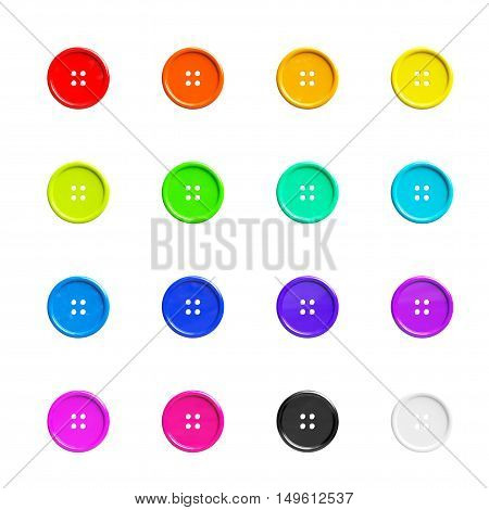 Multicolour Sewing Buttons on a white background. 3d Rendering