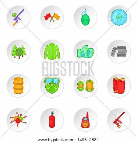 Paintball icons set in cartoon style. Airsoft equipment and outfit set collection vector illustration