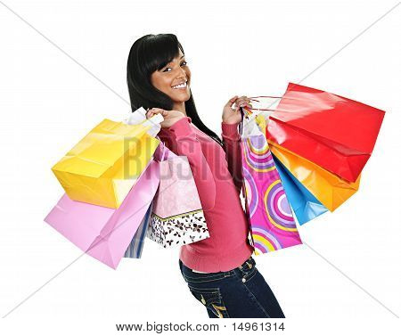 Happy Young Black Woman With Shopping Bags