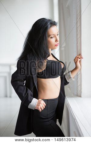 Pensive Sexy Brunette
