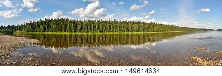 Panorama of North river protected. The Northern Urals. The national Park