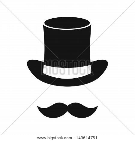 Magic black hat and mustache icon in simple style on a white background vector illustration