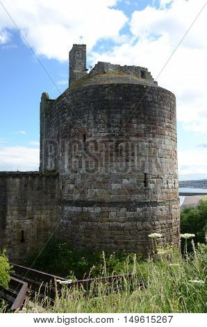 A view of the round turret at Ravenscraig castle