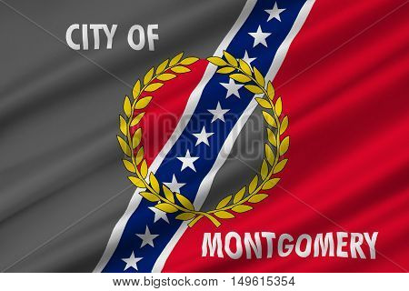 Flag of Montgomery is the capital city of Alabama United States. 3D illustration