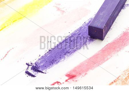 Purple Square Pastel Chalk And Colorful Pigments, On White Background