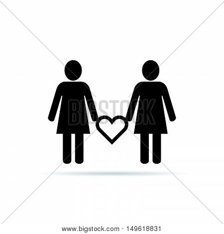Lesbian Couple Icon With Heart Set Illustration In Black
