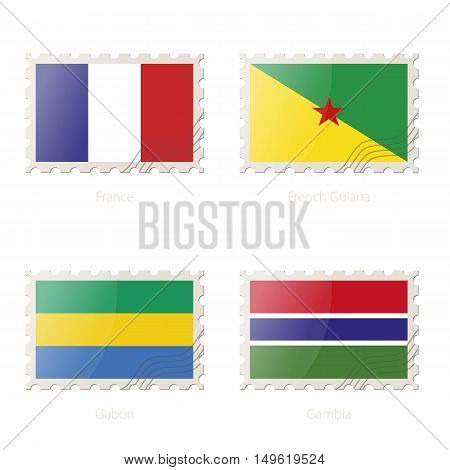 Postage Stamp With The Image Of France, French Guiana, Gabon, Gambia Flag.