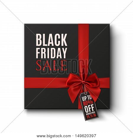 Black Friday Sale conceptual background. Black gift box with red ribbon and price tag isolated on white. Vector illustration.