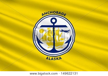 Flag of Anchorage is a unified home rule municipality in Alaska state United States. 3D illustration