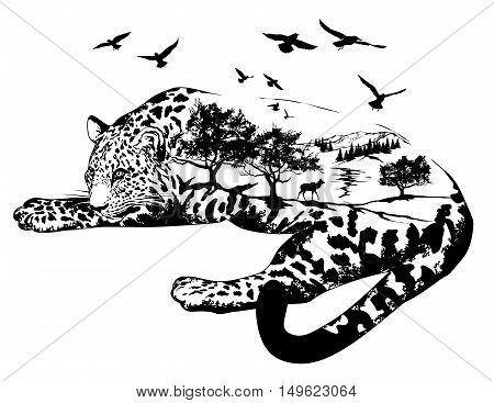 Vector Double exposure Hand drawn jaguar for your design wildlife concept