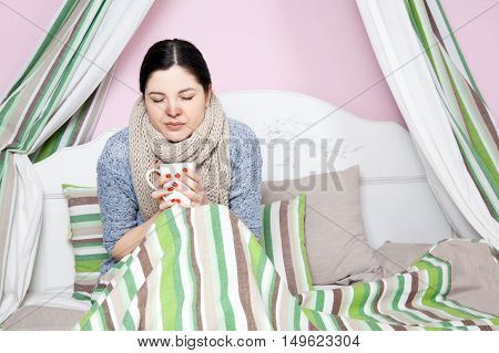 Sick Woman With Temperature Resting.