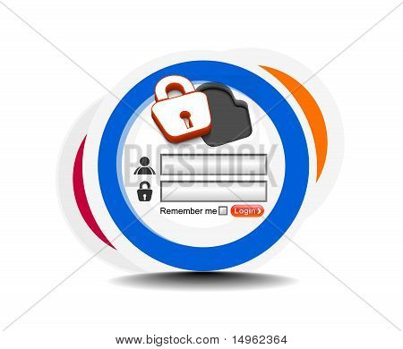 Vector login password security window screen web form templates. poster