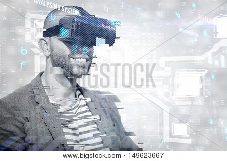 Man wearing virtual simulator headset against virus background