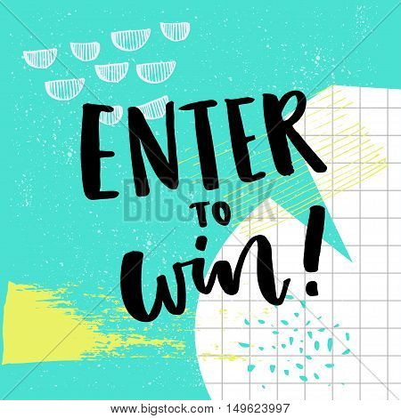 Enter to win text for giveaway. Social media contest vector banner with colorful abstract background