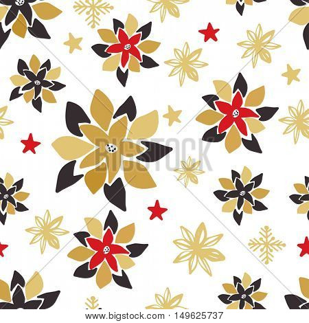 Vintage seamless pattern with gold, black and red Christmas poinsettia flowers, snowflakes and stars. Can be used for  gifts,  scrapbooking, wallpapers, backgrounds, web sites. Winter holiday pattern