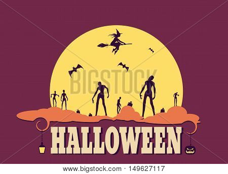 Zombie silhouettes on moonlight. Halloween theme background. Witch silhouette on a broomstick