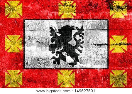 Flag Of Sao Vicente, Sao Paulo, Brazil, Painted On Dirty Wall