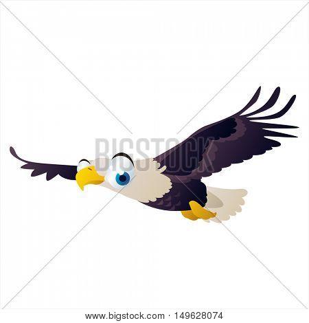 cute vector comic cartoon Bird. Cool colorful Eagle