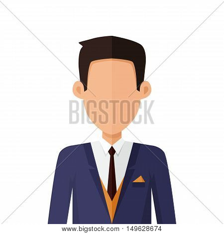 Man character avatar vector in flat style design. Brunet male personage portrait icon. Illustration for identity in Internet, concepts, app pictograms, infographic. Isolated on white background.
