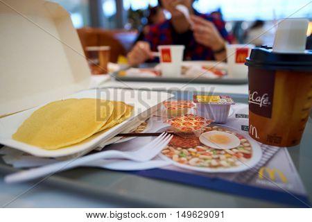 HONG KONG - CIRCA SEPTEMBER, 2016: a tray of food from McDonald's in Hong Kong International Airport. McDonald's is the world's largest chain of hamburger fast food restaurants.