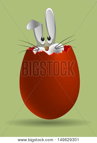 sneaky little Bunny peeking out of the cracked Easter eggs