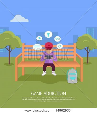 Game addiction banner. Boy whis tablet computer sitting on wooden bench in the park. Boy with dialog window. Boy using tablet. Urban cityscape with boy, park, bench, trees, blue sky and white clouds