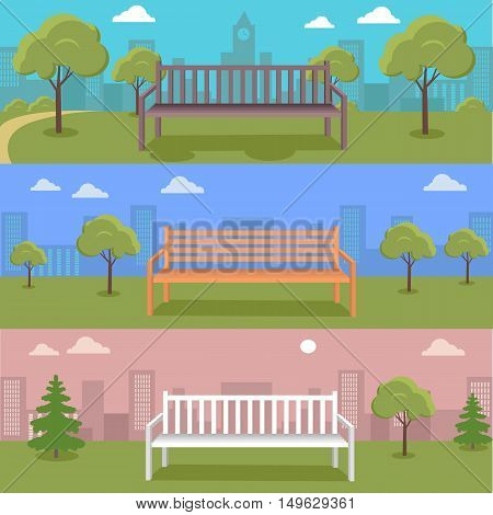 Set of Urban cityscape with park, bench, trees, shrubs, blue sky and white clouds. Silhouettes of buildings. Office buildings, building scenery, urban landscape, urban background, city panorama