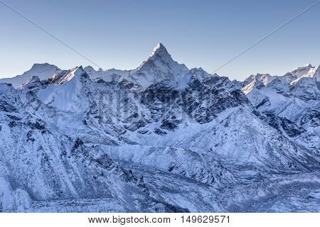 Ama Dablam Mountain Landscape. Sharp Mountain Peak Standing Out Among Himalayan Mountain Range. Amaz