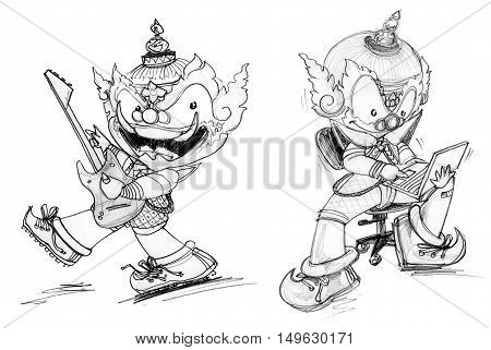 Thai Giant  showing skill talent Playing electric guitar and workingon lab top character Design cute and funny isolate.