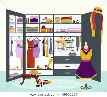 Clothing storage concept vector. Flat design. Womans wardrobe with mirror filled variety clothing, dresses, blouses, shirts, hats, shoes and accessories. Ladies treasures illustration.