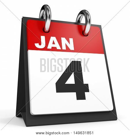January 4. Calendar On White Background.