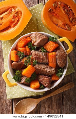 Healthy Food: Beef Stew With Pumpkin And Spices Closeup. Vertical Top View
