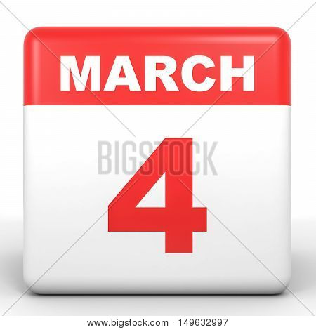 March 4. Calendar On White Background.