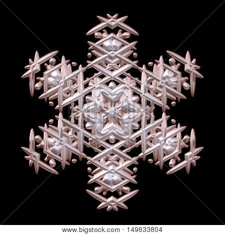 Wonderful symmetry 3d render metal xmas winter snowflake