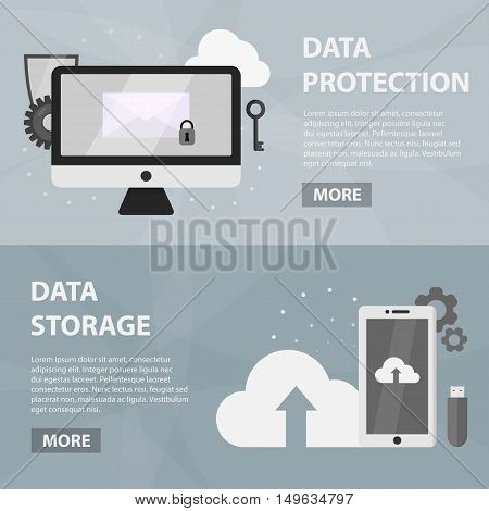 Vector flat horizontal banners of data protection and computer security for website. Business concept of data storage, electronic market and technology support.