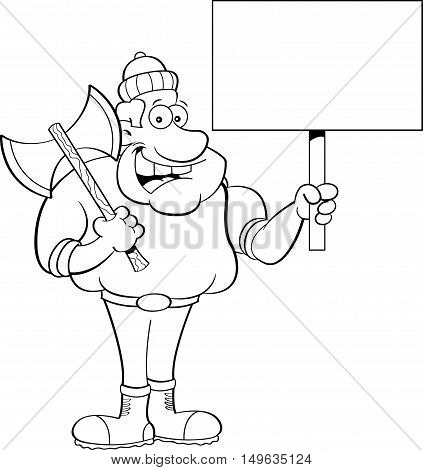 Black and white illustration of a lumberjack holding a sign.