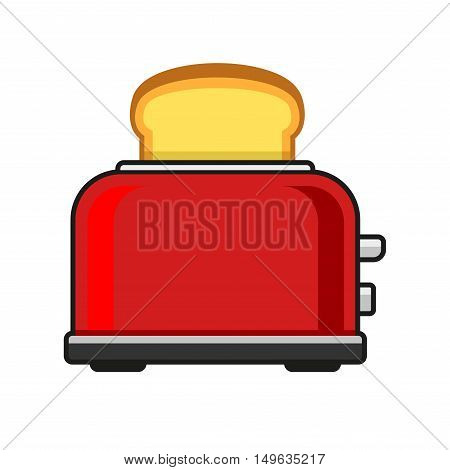 Toasts Flying Out of Red Toaster. Vector illustration