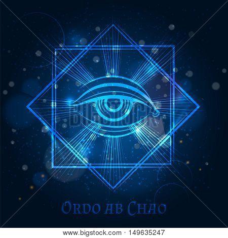 Mystical mason sign with eye on blue shining background. Vector illustration