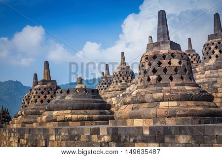 Borobudur is a 9th-century Mahayana Buddhist Temple in Magelang Central Java Indonesia.