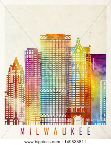 Milwaukee landmarks in artistic abstrack watercolor poster