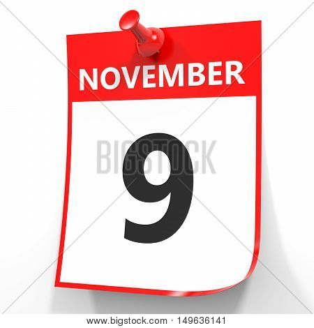 November 9. Calendar On White Background.