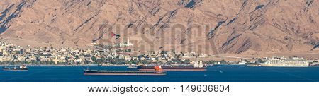 Panoramic view on marine port of Aqaba, Jordan, Middle East