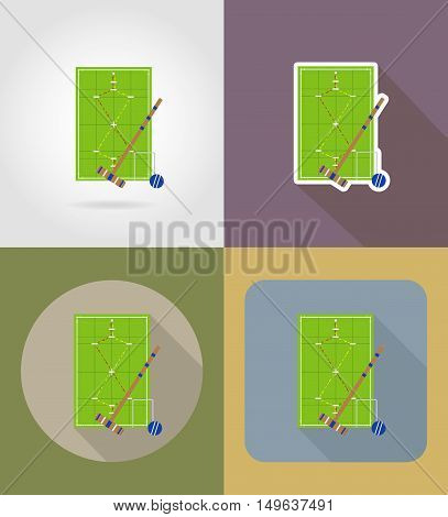 playground for croquet flat icons vector illustration isolated on background