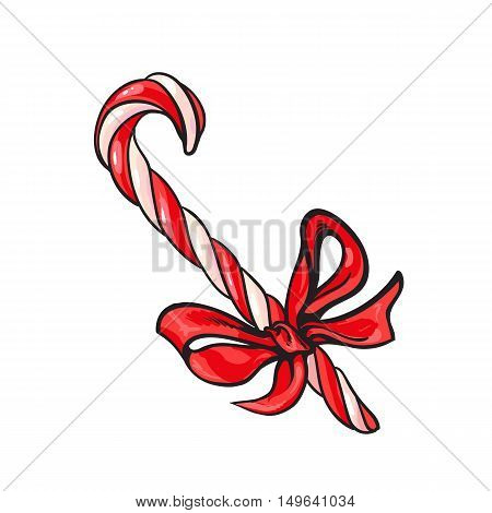 Christmas candy cane with red bow, cartoon vector illustration isolated on white background. Traditional striped red and white Xmas candy cane with a red ribbon, Christmas decoration element