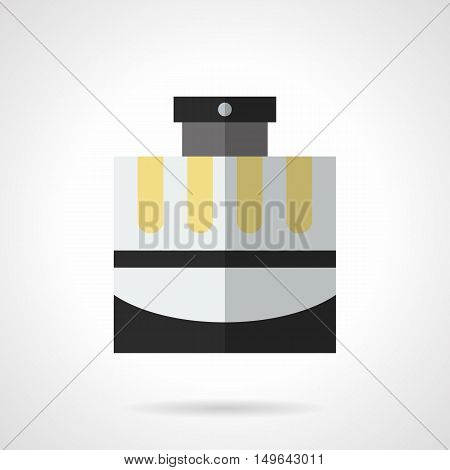 Cosmetic and perfumery products for men. Male cologne in elegant gray bottle with black and yellow elements. Flat color style vector icon.