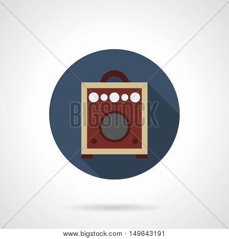Brown guitar combo amp. Professional music equipment for concert, studio, performance. A front view of amplifier with switches, inputs on a panel. Round flat color design vector icon.