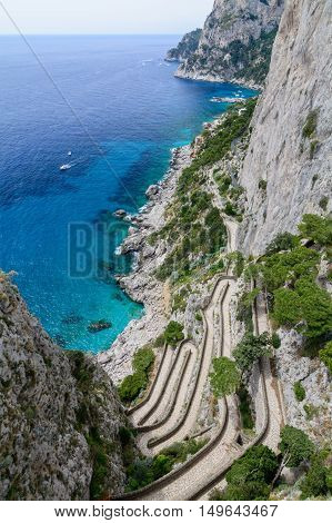 Vertical View Of Amalfi Coast In Italy. Lying At The Mouth Of A Deep Ravine, Amalfi Is A Town In The